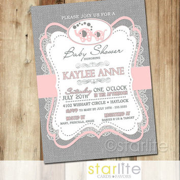 Shop vintage pink baby shower invitations on wanelo elephant baby shower invitation pink gray burlap lace 5x7 re filmwisefo