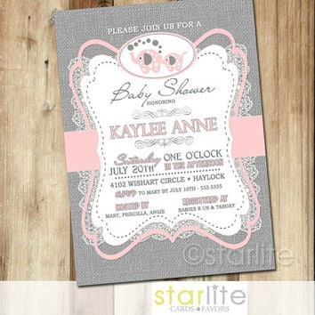 Elephant Baby Shower Invitation   Pink Gray Burlap Lace   5x7 Re