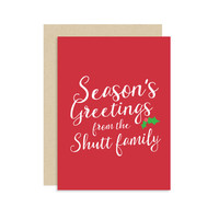 PERSONALIZED Season's Greetings from the ___ Family - Christmas Holiday Seasonal Card Gift - Modern Cute Classic Fun 5x7