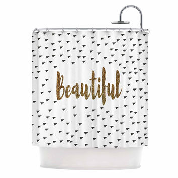 "Suzanne Carter ""Beautiful"" Gold Typography Shower Curtain"