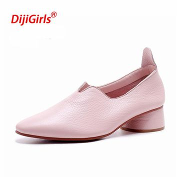 Chaussures Femme ete 2018 New Luxury Brand Loafers Shoes Women Genuine Leather Flat Shoes Square Heels Loafers Zapatos Mujer