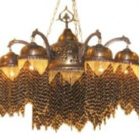 One Kings Lane - Well-Traveled Pieces - Beaded Brass Riad Chandelier, Black