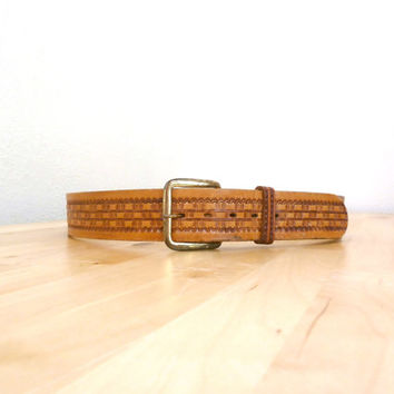 Vintage Hand Tooled Leather Belt / Wide Tan Leather Belt / 70s Brown Belt M L