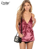 Women Sexy V Neck Velvet Camis Tank Top Summer Vintage Velour Camisole Crop Top Side Pink Short Top Gray Crop