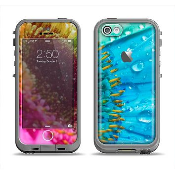 The Vibrant Colored Wet Flower Apple iPhone 5c LifeProof Fre Case Skin Set