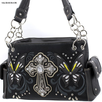 * WESTERN RHINESTONE HANDBAG CONCEALED CARRY PURSE In Black
