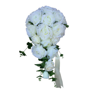Cascade Bouquet - Ivory roses with greenery - Artificial Flower Arrangemet