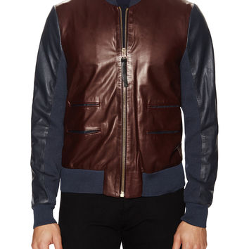 Paul Smith Men's Leather Contrast Bomber Jacket -