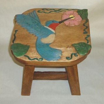 Hummingbird Hand Carved and Hand Painted Wood Footstool