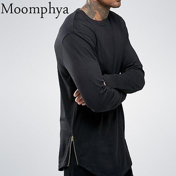 Moomphya fashion street wear t shirt men extend swag side zip t shirt Super Longline Long Sleeve T-Shirt With Curve Hem And Zip