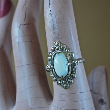 Art Deco Czech Gilt Gold or Tombak Ring With Opalescent Faux Moonstone Art Glass 1920's size 6