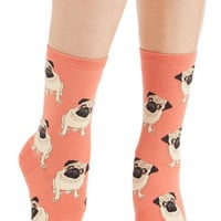 Quirky Pug Life Socks in Melon by ModCloth