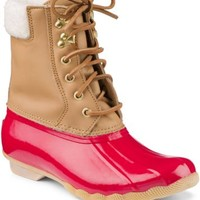 Sperry Top-Sider Shearwater Duck Boot Cognac/Red, Size 12M  Women's Shoes