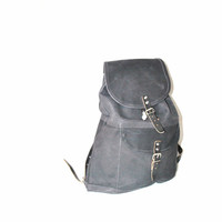 black leather backpack / MINIMALIST leather backpack GRUNGE book bag