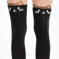 Kitty Ear Cat Face Tattoo Tights GoJane.com