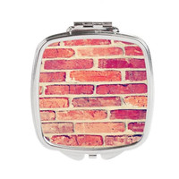 Red Brick Compact Mirror - FREE shipping to USA pocket mirrors hipster queen square silver metal eye catching indie art print gift ideas