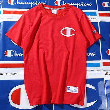 Champion spring and summer youth tide brand T shirt men and women lovers Red