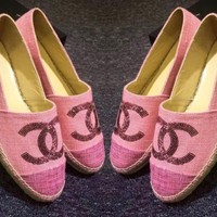 """""""Chanel"""" Ladies Casual Logo All-Match Sequin Weave Canvas Flats Pink Shoes"""