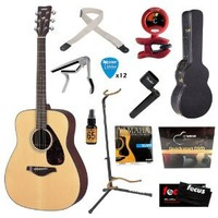 Yamaha FG700S Folk Acoustic Guitar Bundle with Hard Case, Strap, Stand, Tuner, Strings, Picks, Capo, String Winder, and Instructional DVD - Natural