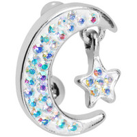Top Mount Aurora CZ Celestial Moon Belly Ring | Body Candy Body Jewelry