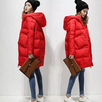 2017 Cocoon White Duck Down Jacket Winter Jackets Women Parkas Loose Hooded Coats Long Warm Casual Outwear Lady Parka Spring