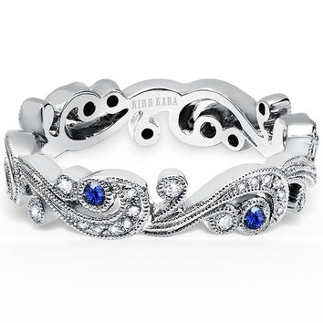 "Kirk Kara ""Angelique"" Scroll Work Blue Sapphire Diamond Wedding Band"