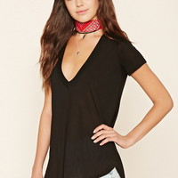 Semi-Sheer V-Neck Tee