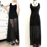 Black Maxi Dress Lace Bottom Polka Dot Wicca Mesh Dress Skirt