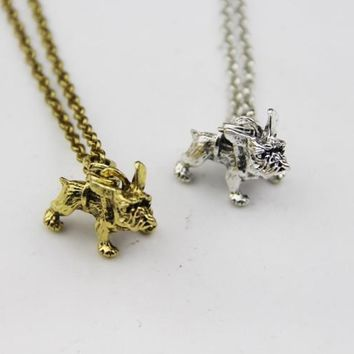 Fashion Jewelry Vintage Charm French Bulldog Necklace Women Lovely Puppy Bull Dog Statement Necklace for Women