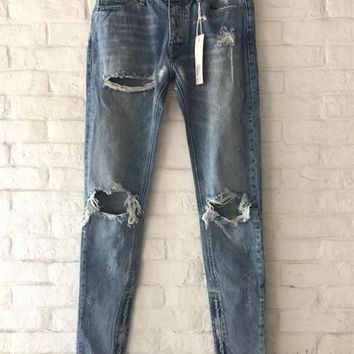 Fear Of God Jeans Men 1:1 High Quality FOG Kanye West Destroyed Pants Justin Bieber Vintage Ripped Denim Fear Of God Jeans