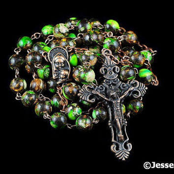Catholic Rosary Beads Rustic Green Gold Copper Impression Jasper & Bornite Natural Stone Traditional Five Decade
