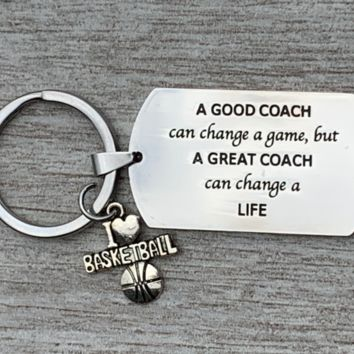 Baseball Coach Keychain, A Good Coach Can Change a Game But a Great Coach Can Change a Life