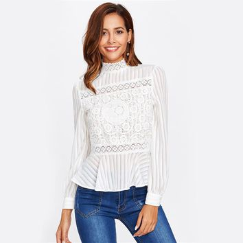 Lace Panel See Through Peplum Blouse White Sexy High Neck Long Sleeve Button Blouse Women Elegant Blouse