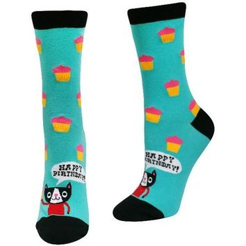 Happy Birthday Cat Women's Crew Socks by Sock It To Me