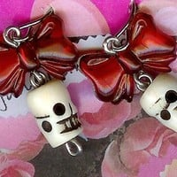 Red Bow Skull Earrings