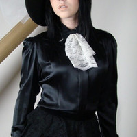 J. Peterman Black Blouse with Victorian Steam Punk Styling in Silk and Accented with a Beige Lace Cuff Sleeves and  Ascot Size Small