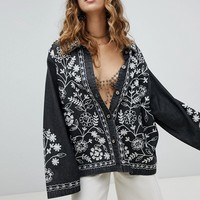 Sacred Hawk Denim Shirt Jacket With All Over Embroidery at asos.com