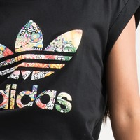 adidas Jardim Agharta Loose Fit Large Trefoil Tee in Black