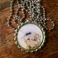 Soul Eater Soul Evans anime face bottlecap necklace