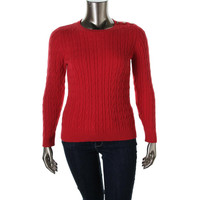 Charter Club Womens Plus Cable Knit Crew Neck Pullover Sweater