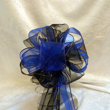 Royal Blue and Black Wedding/ Pew Bows set of 10