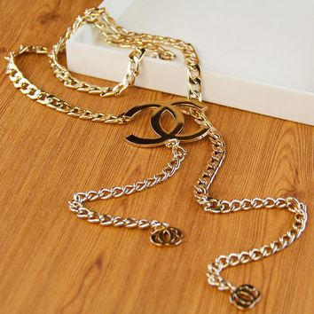 Chanel wind metal waist chain female belt fine metal chain fashion wild dress decoration gold and silver Gold buckle (gold)