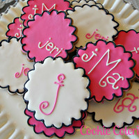 Monogram Decorated Sugar Cookies Baby Shower Bridal Shower Birthday Party Favors One Dozen