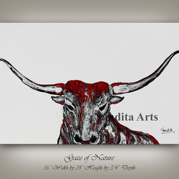 Animal bull painting, bull skull wall decor, animal painting, grey, black & red bull home decor modern wall art bull head, bull horns