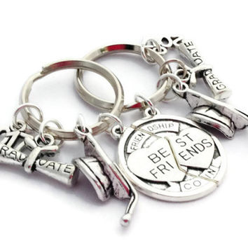 Graduation Gift for 2 Friends, Friendship Keyring, Set of Keychains, College Grad, Class of 2017, Congratulations Token, Present for Buddies