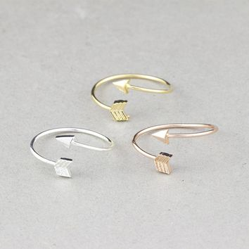 One Direction Arrow Rings For Women Bff Gift Aneis Feminino Minimalist Jewelry Rose Gold Color Bague Adjustable Knuckle Ring Men