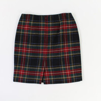 VINTAGE 1990s Plaid Skirt Short Tartan Black by WearitWellvintage