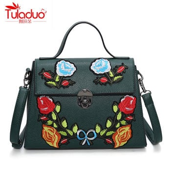 National Vintage Floral Embroidered Bag Women Handbags High Quality PU Leather Women Shoulder Bags Luxury design Ladies Bolsas