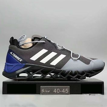 Adidas Men Running Sport Casual Shoes Sneakers Grey+Blue G-A0-HXYDXPF