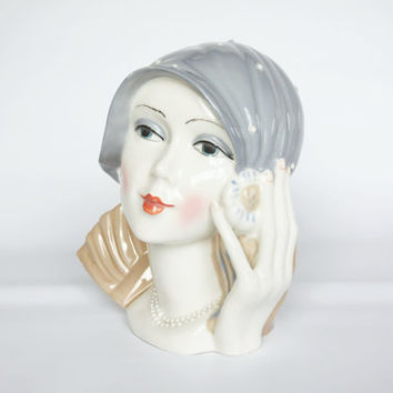 Art Deco women head figurine, Spanish Ingles art deco statue, flapper hat decoration, vintage woman bust statue, light blue antique woman